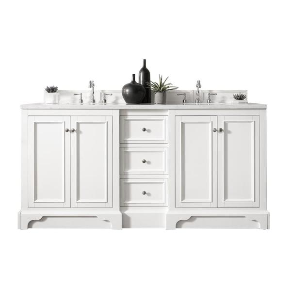 De Soto 72 in. W Double Bath Vanity in Bright White with Soild Surface Vanity Top in Arctic Fall with White Basin