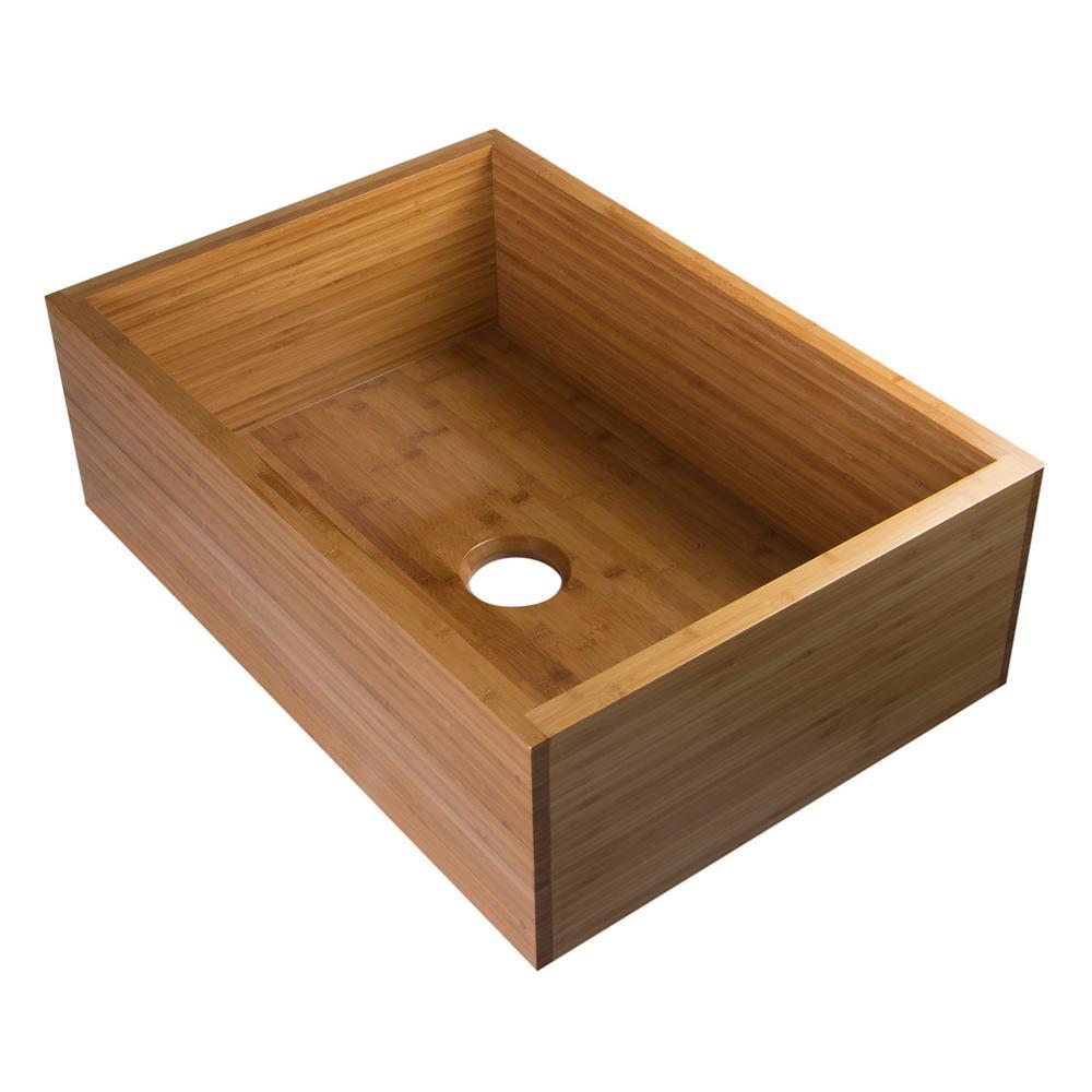 Alfi Brand Farmhouse Wood 30 In L Single Bowl Kitchen Sink In Natural Wood