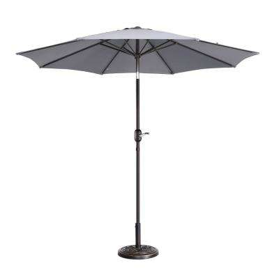 9 ft. Aluminum Market Auto Tilt Patio Umbrella in Gray