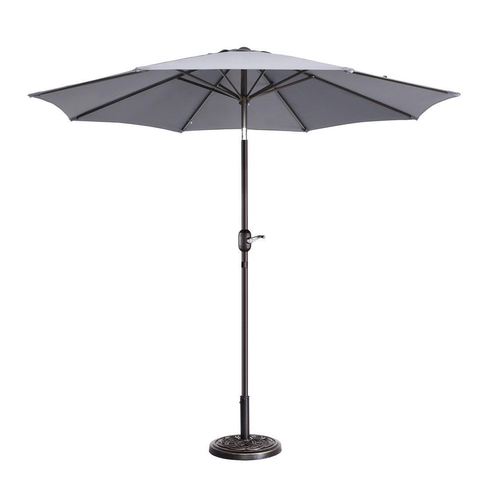 9 ft. Aluminum Market Auto Tilt Patio Umbrella in Gray