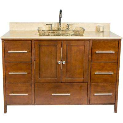 Manhattan 48.75 in. W x 22.25 in. D Bath Vanity in Brown with Granite Vanity Top in Beige with Fawn Basin