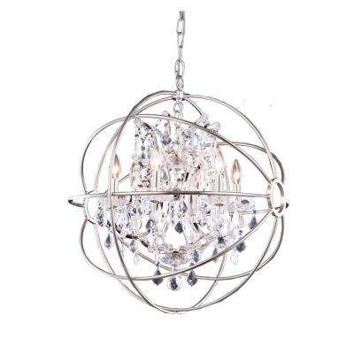 Geneva 6-Light Polished Nickel Chandelier with Clear Crystal