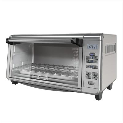 1550 W 8-Slice Black and Silver Countertop Convection Toaster Oven with Temperature Controls