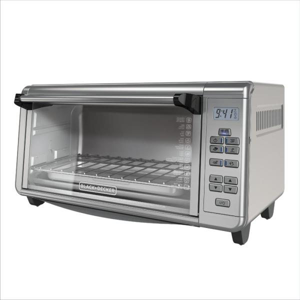 BLACK+DECKER 1550 W 8-Slice Black and Silver Countertop Convection Toaster Oven