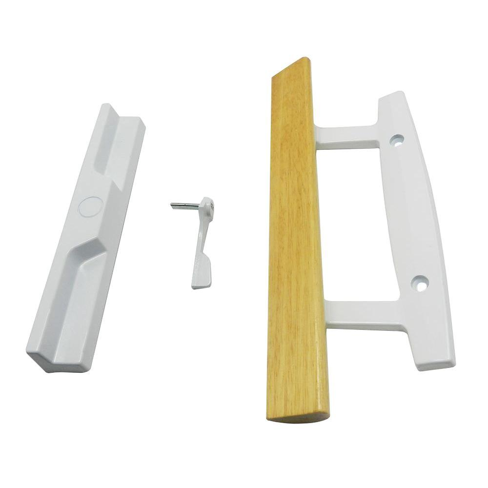 White Surface Mount Sliding Door Handle Set