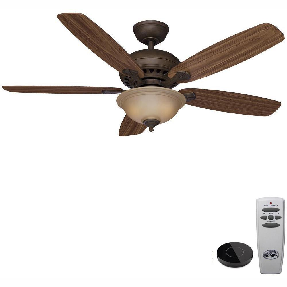Hampton Bay Southwind 52 in  LED Venetian Bronze Ceiling Fan with Light Kit  Works with Google Assistant and Alexa