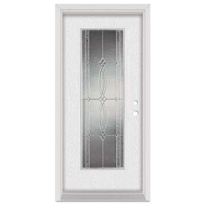 33.375 in. x 83 in. Diamanti Classic Left-Hand Full Lite Zinc Finished Fiberglass Oak Woodgrain Prehung Front Door
