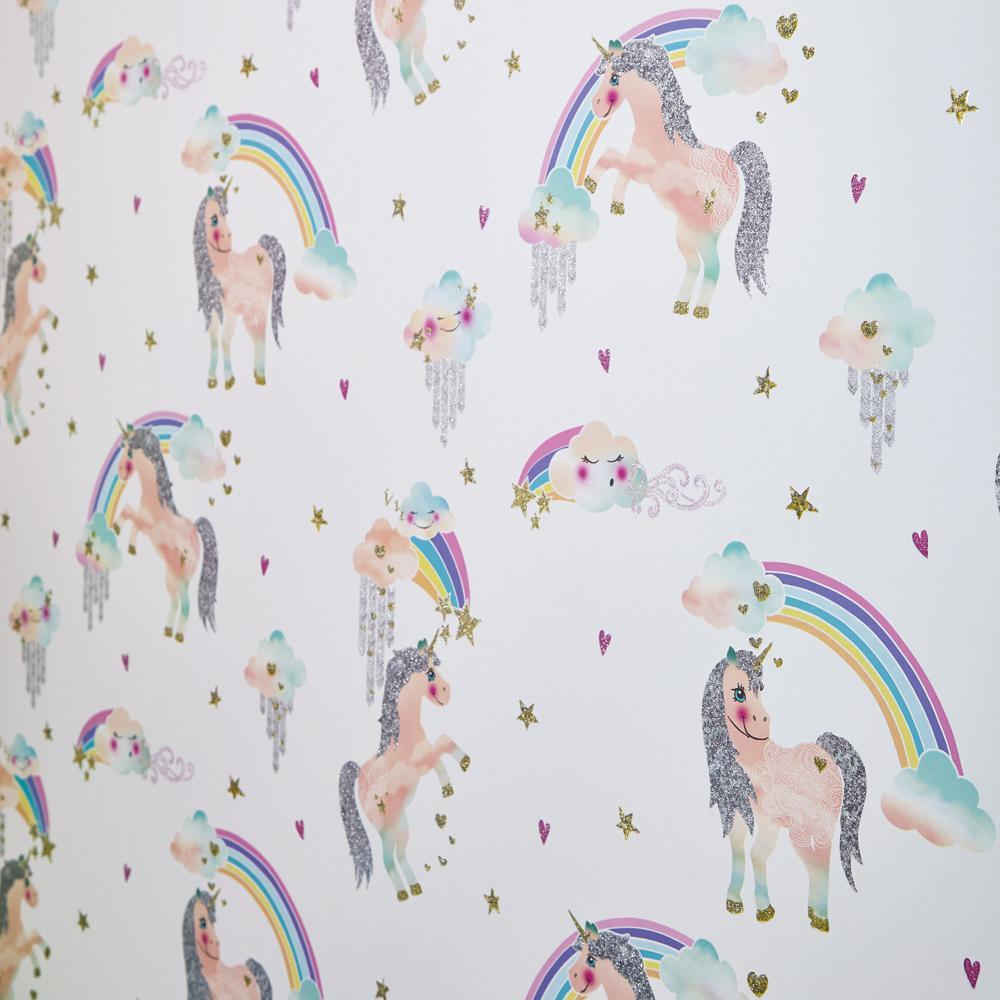 Arthouse Glitter Detail Kids Girls Bedroom Wallpaper: Arthouse Rainbow Unicorn White Wallcovering-696109
