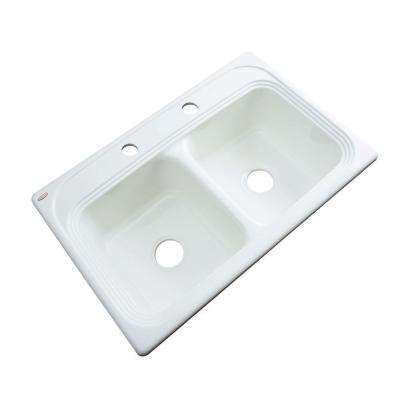 Chesapeake Drop-In Acrylic 33 in. 2-Hole Double Basin Kitchen Sink in White