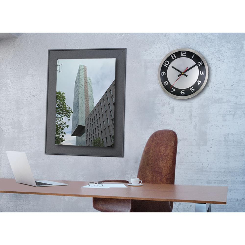 Timekeeper Products 9 in. Round Brushed Metal/Black Dial Wall Clock