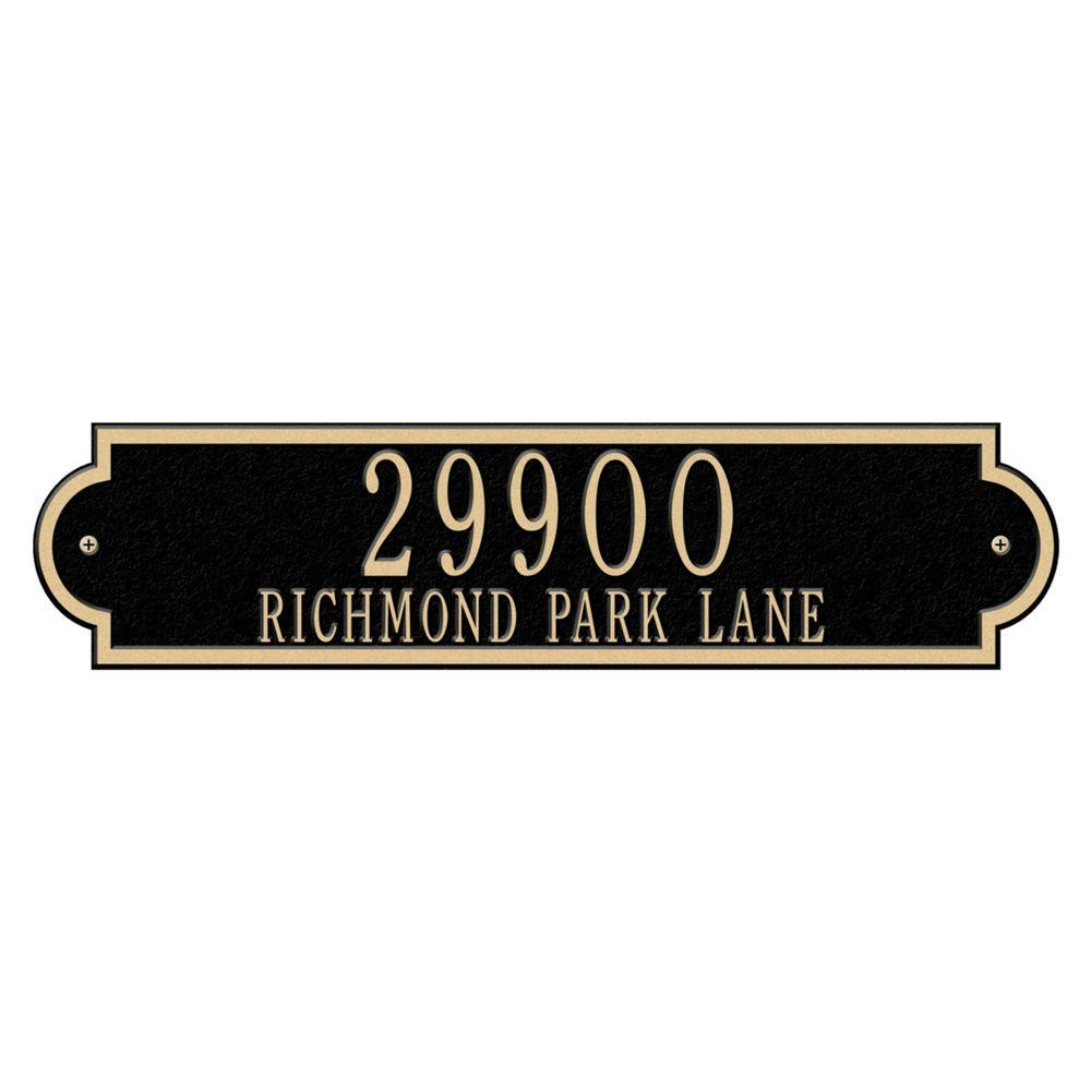Richmond Rectangular Black/Gold Estate Wall Two Line Horizontal Address Plaque