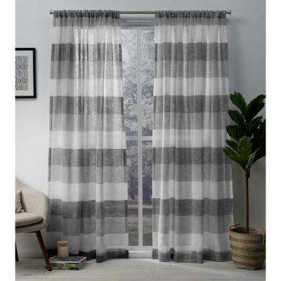 Bern 54 in. W x 84 in. L Sheer Rod Pocket Top Curtain Panel in Ash Gray (2 Panels)