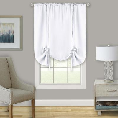 Darcy 58 in. W x 63 in. L Polyester Light Filtering Tie-Up Window Panel in White