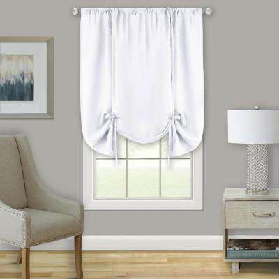 Darcy White Polyester Light Filtering Window Curtain Tie Up Shade 58 in. x 63 in.