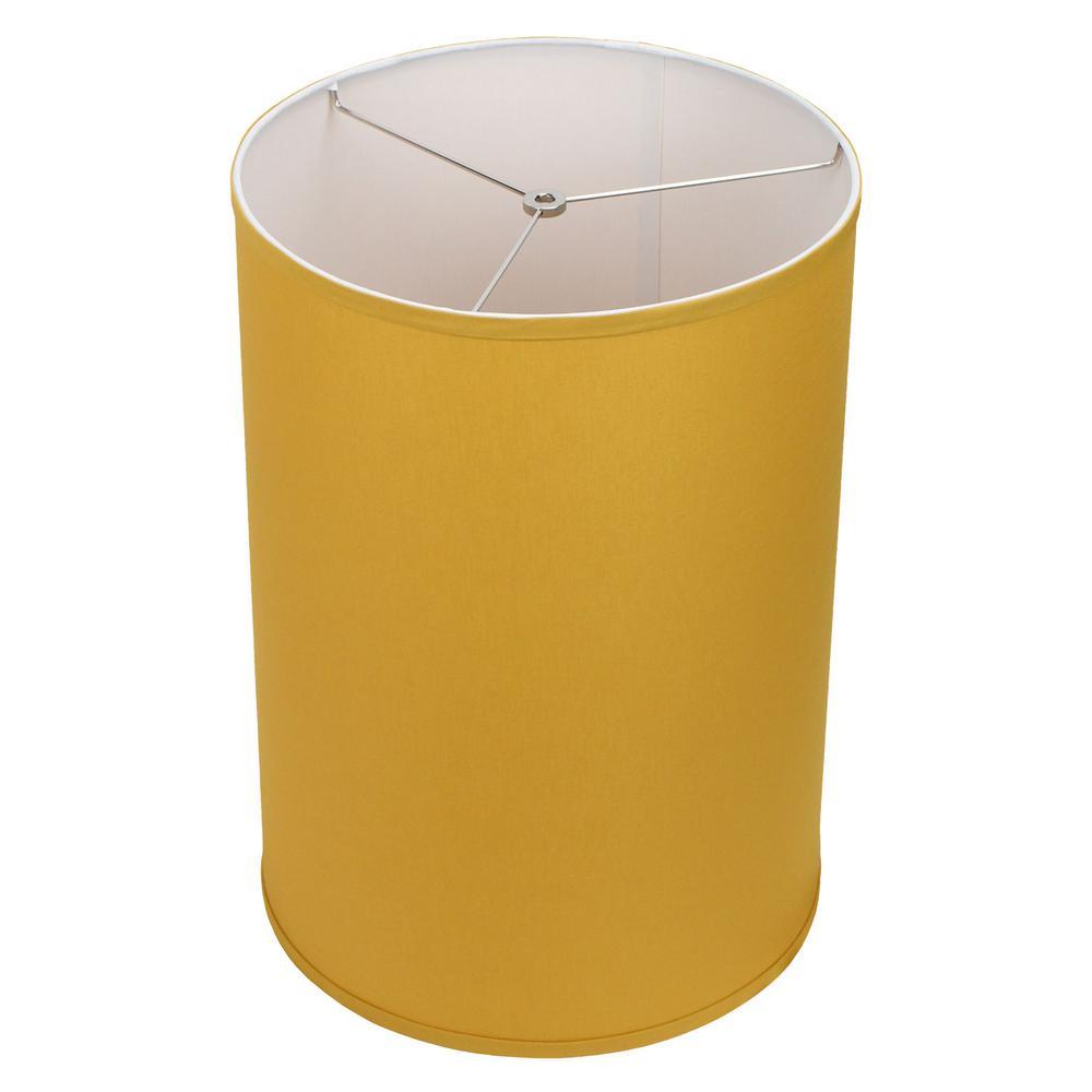 14 in. Top Diameter x 14 in. Bottom Diameter x 20 in. Height Linen Curry Drum Lamp Shade