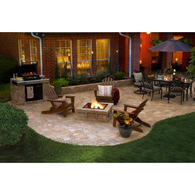 RumbleStone 38.5 in. x 21 in. Square Concrete Fire Pit Kit No. 4 in Sierra Blend