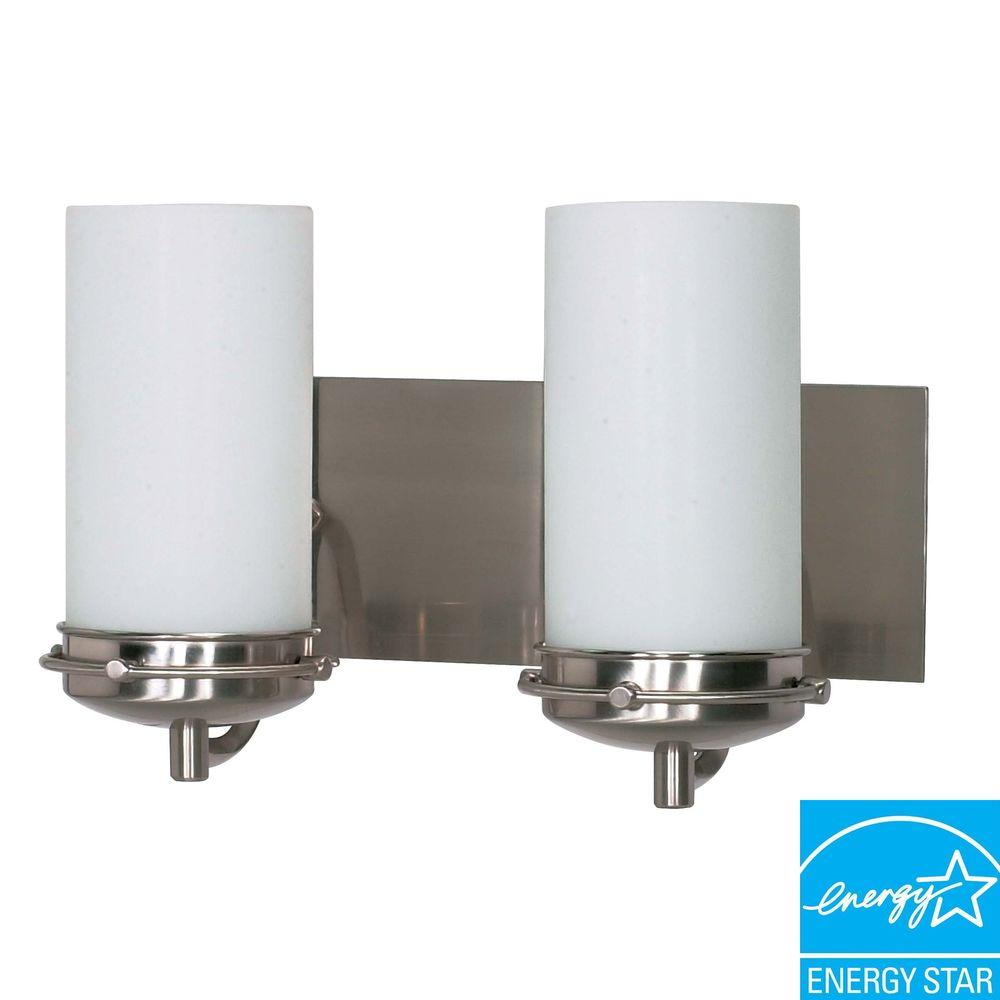 Green Matters 2-Light Brushed Nickel Bath Vanity Light with White Opal Glass