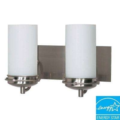 2-Light Brushed Nickel Bath Vanity Light with White Opal Glass