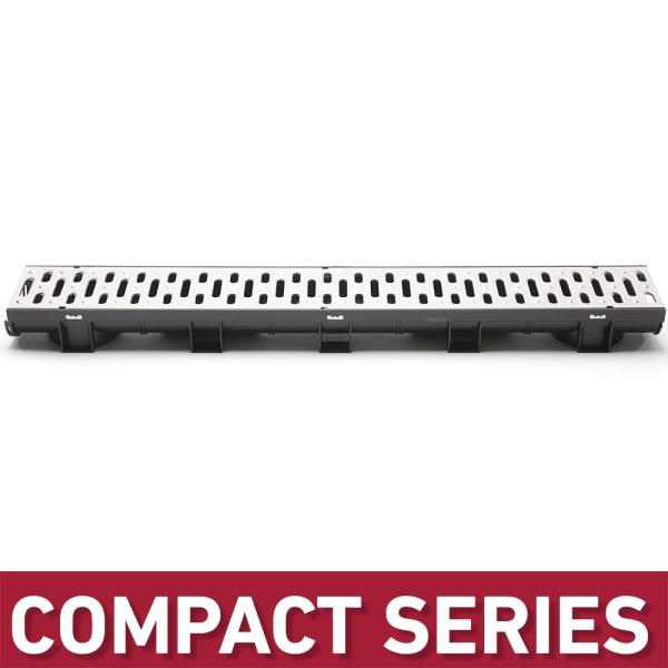 Compact Series 5.4 in. W x 3.2 in. D x 39.4 in. L Black Channel and Stainless Steel Grate with Bottom Outlet
