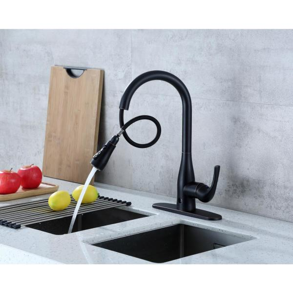 Flow Motion Activated Single Handle Pull Down Sprayer Kitchen Faucet In Oil Rubbed Bronze Ub 7000 Orb The Home Depot