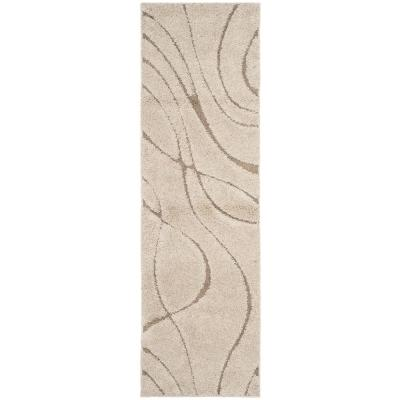 Florida Shag Cream/Beige 2 ft. x 21 ft. Runner Rug