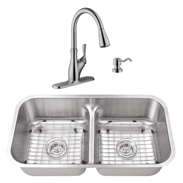 Undermount Stainless Steel 32-1/2 in. 50/50 Double Bowl Kitchen Sink with Brushed Nickel Faucet
