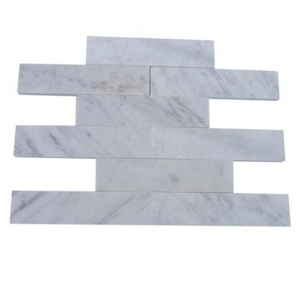 Ivy Hill Tile Brushed White Carrera Marble Mosaic Tile - 2 in  x 8 in  Tile  Sample