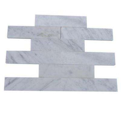 Brushed White Carrera Marble Mosaic Tile - 2 in. x 8 in. Tile Sample