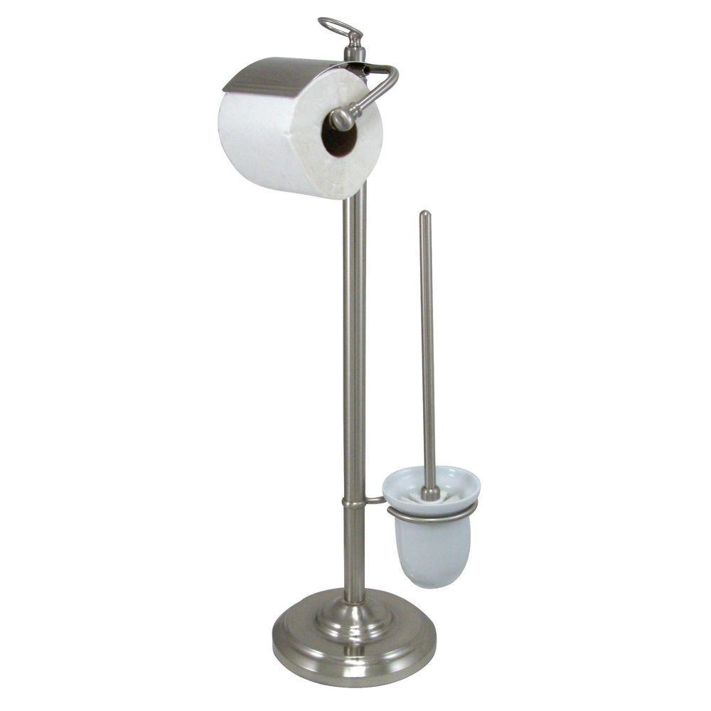Vintage Pedestal Toilet Paper and Brush Holder in Satin Nickel