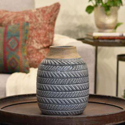 Gray, Brown Gloss Ceramic Decorative Vase