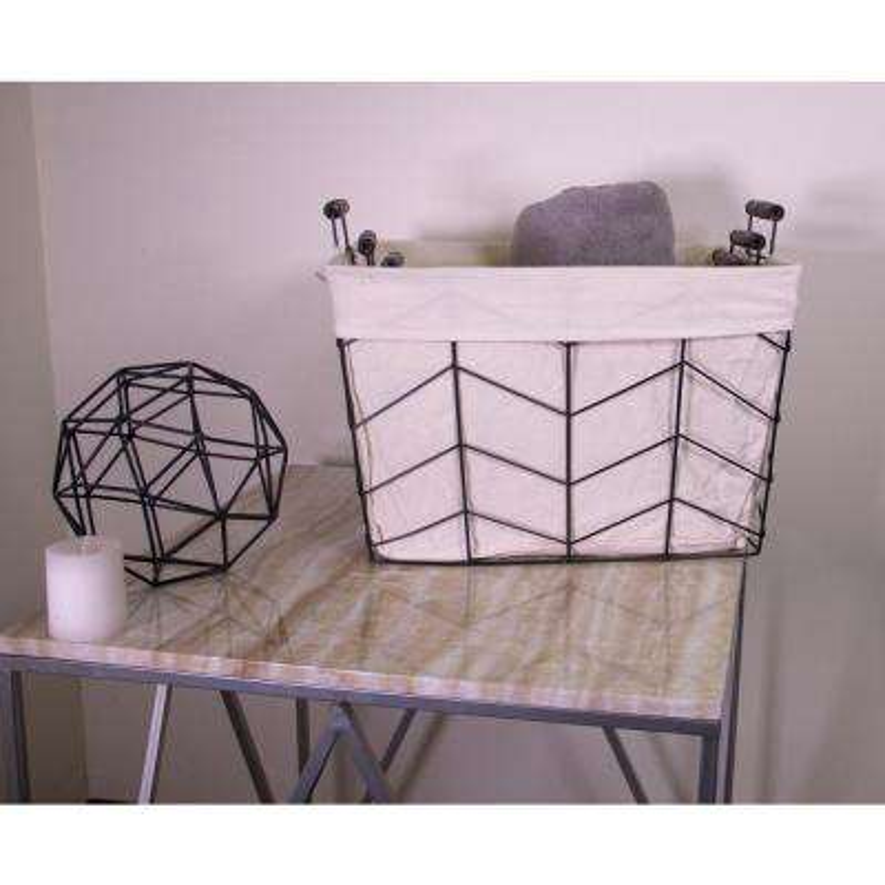 3-Piece Rectangular Herringbone Metal Basket with Liner