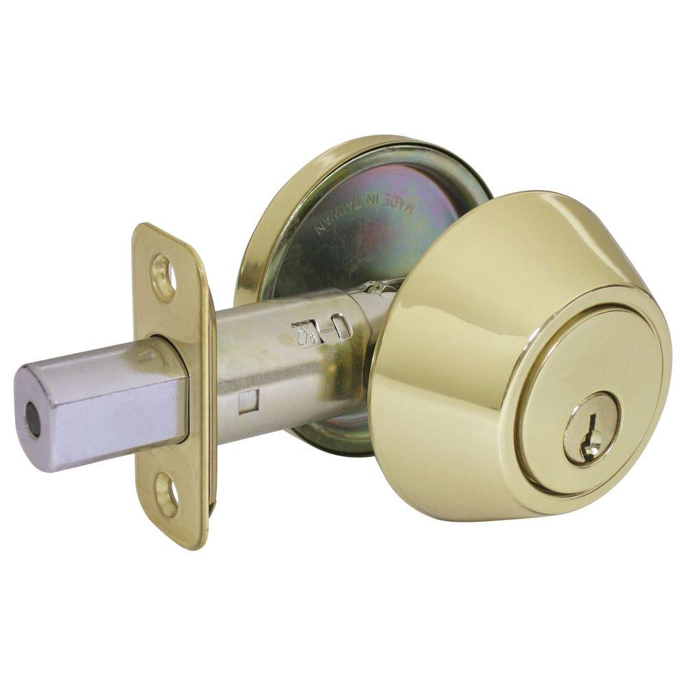 Faultless Single Cylinder Polished Brass Deadbolt
