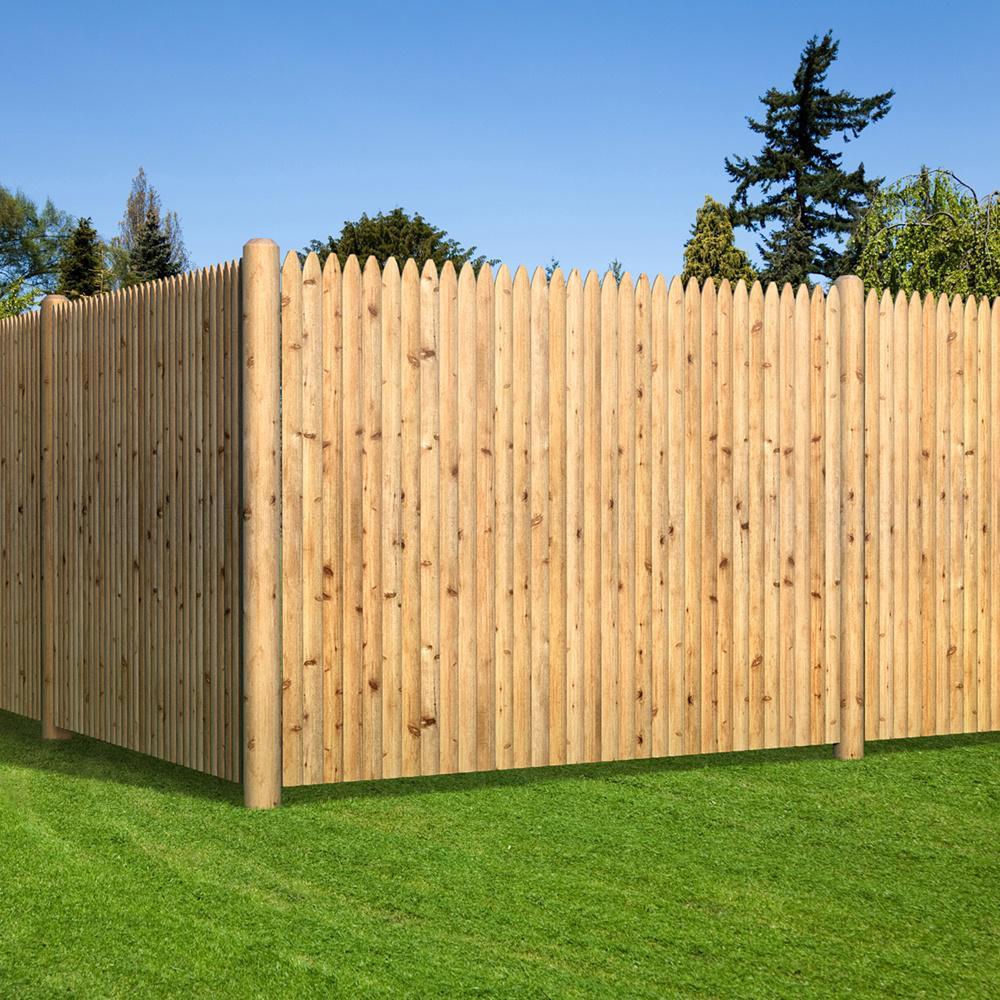 6 Ft X 8 Ft Cedar Doweled Pro Stockade Fence Panel 405801 The Home Depot