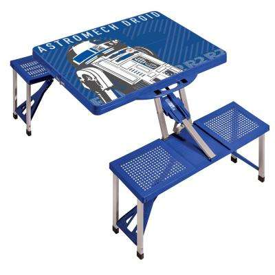 R2-D2 Blue Picnic Table Sport Portable Folding Table with Seats