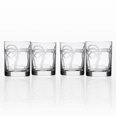 Palm Tree 14 oz. Clear Double Old-Fashioned (Set of 4)