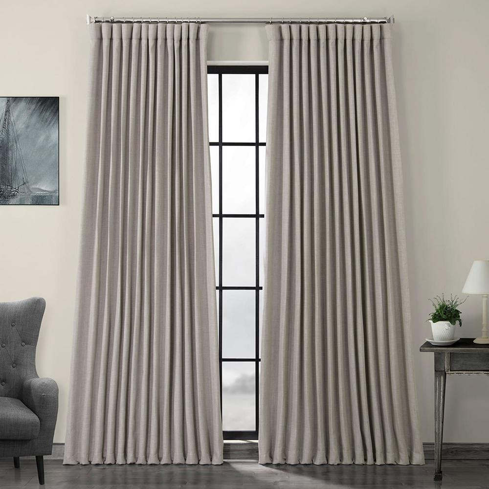 Exclusive Fabrics & Furnishings Clay Beige Faux Linen Extra Wide Blackout Curtain - 100 in. W x 96 in. L