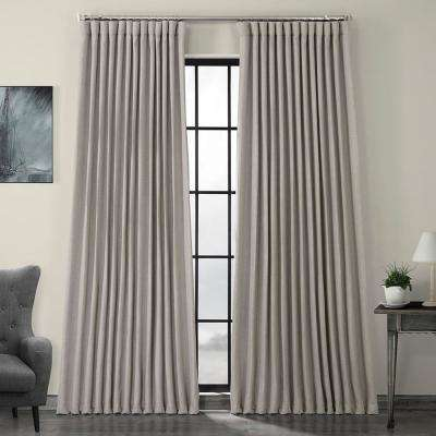 Clay Beige Faux Linen Extra Wide Blackout Curtain - 100 in. W x 96 in. L