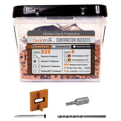 Extreme Ipe Clip Brown Biscuit Style Hidden Deck Fastener Kit for Hardwoods (525-Bucket)