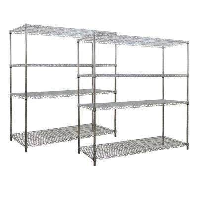 63 in. H x 72 in. W x 18 in. D 4-Shelf Steel Wire Shelving Unit in Chrome with S-Hooks (2-Pack)