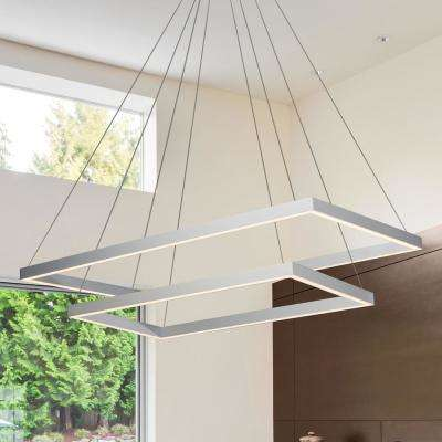 Atria Duo 92-Watt Silver Integrated LED Adjustable Modern 2-Tier Chandelier