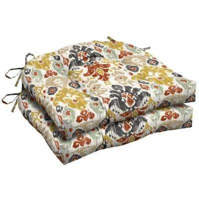 Topaz Kenda Ikat Tufted Square Outdoor Seat Cushion (2-Pack)
