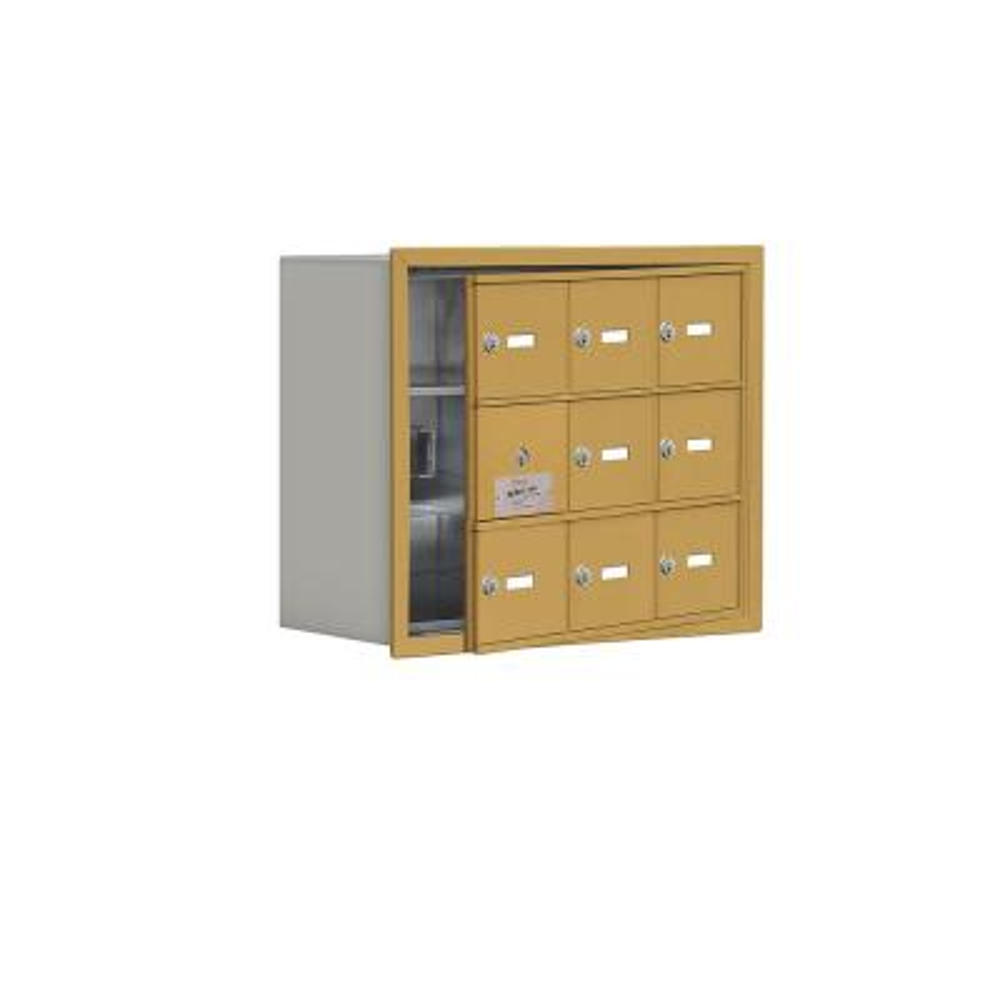 19100 Series 22.75 in. W x 18.75 in. H x 8.75 in. D 8 Doors Cell Phone Locker Recess Mount Keyed Lock in Gold