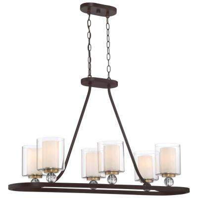 Studio 5 Collection 6-Light Painted Bronze with Natural Brushed Brass Finish Pendant
