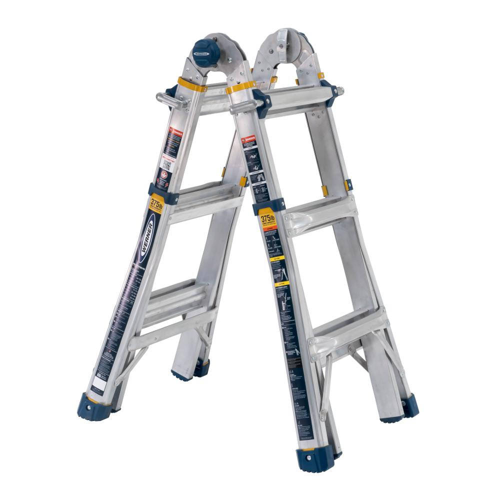 WERNER Werner 14 ft. Reach Aluminum 5-in-1 Multi-Position Pro Ladder with Powerlite Rails 375 lbs. Load Capacity Type IAA Duty Rating
