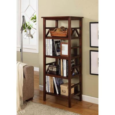 54.06 in. Antique Tobacco Wood 4-shelf Etagere Bookcase with Open Back