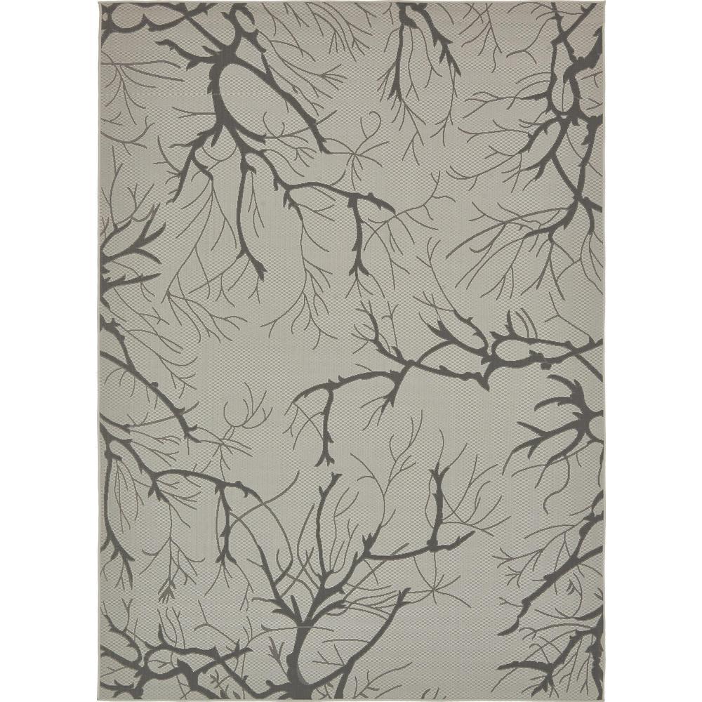 Outdoor Branch Light Gray 8' 0 x 11' 4 Area Rug
