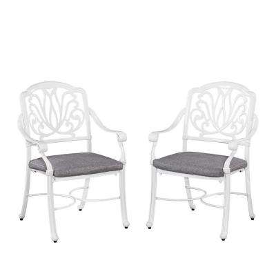 Floral Blossom White All-Weather Patio Arm Chair Pair with Cushion