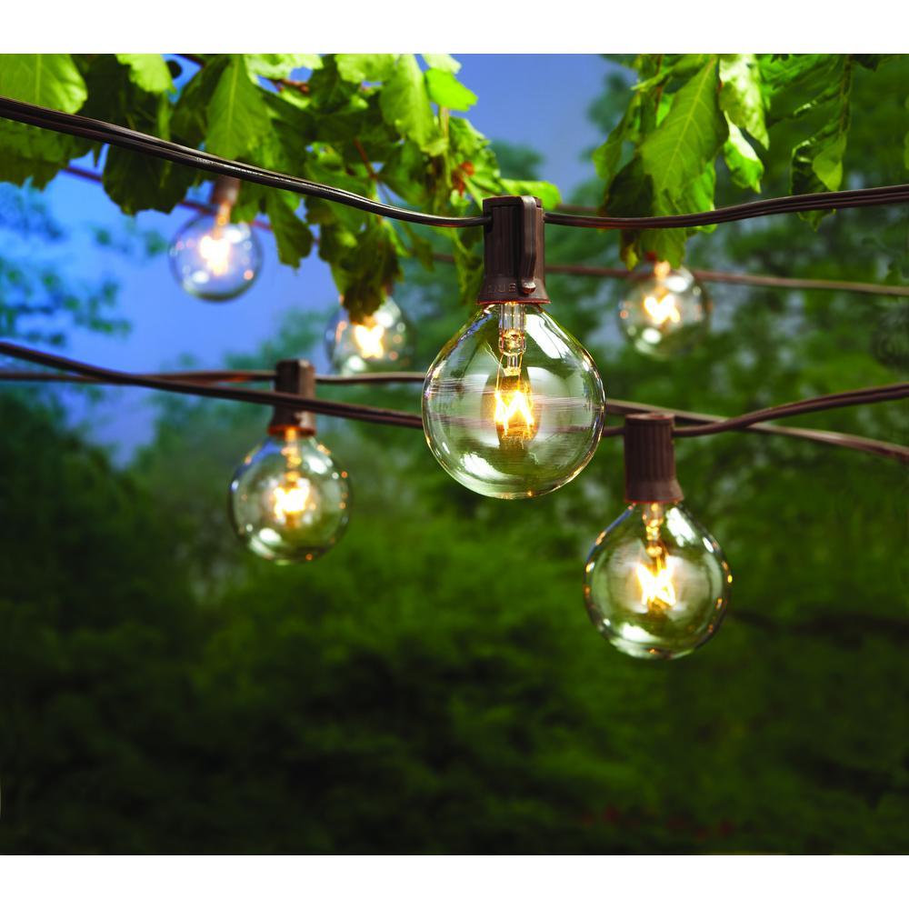12 ft. Line Voltage 12-Light Indoor/Outdoor Large G50 Incandescent Cafe Clear String Lights (2-Pack)