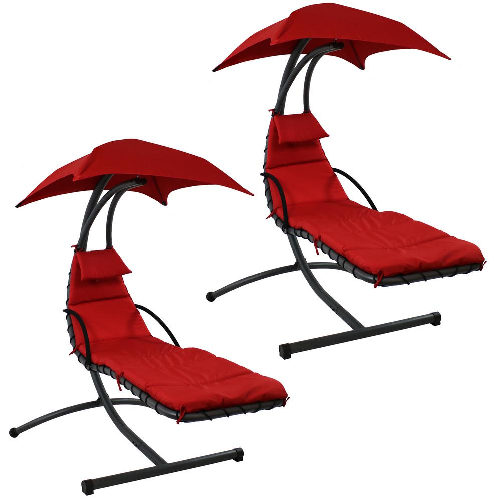 Marvelous Sunnydaze Decor 2 Piece Steel Outdoor Floating Chaise Lounge Chair With Canopy And Red Cushions Uwap Interior Chair Design Uwaporg
