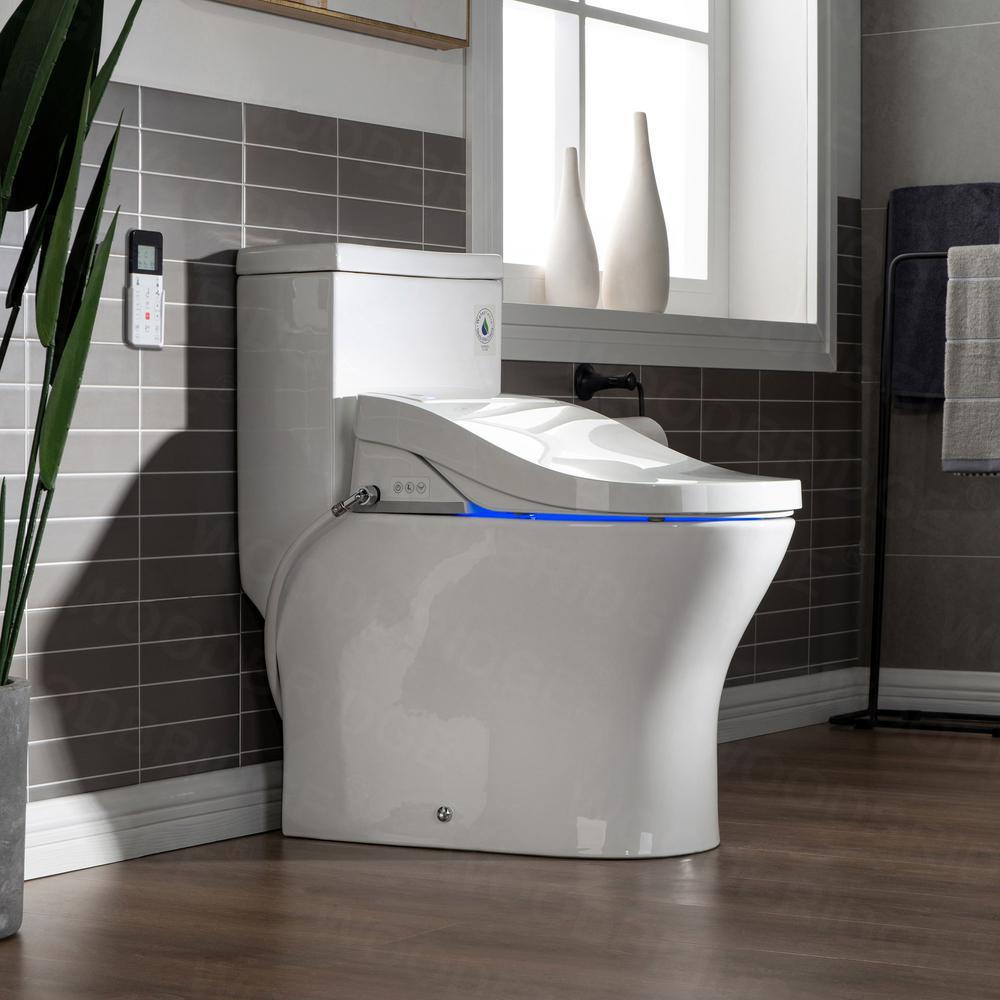 Journey One Piece 1.1GPF/1.6 GPF Dual Flush Elongated Toilet with Advance Smart Washlet BID01 Bidet in White